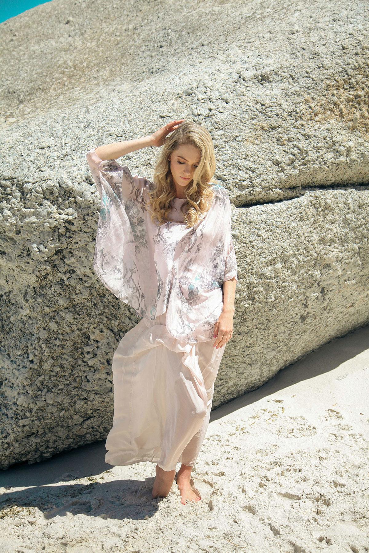 Blush Silk Paisley Batwing Blouse