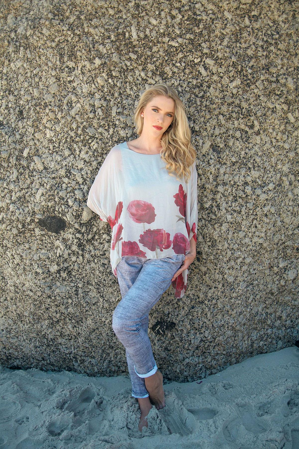 Grey Silk Batwing Blouse With Rose Print