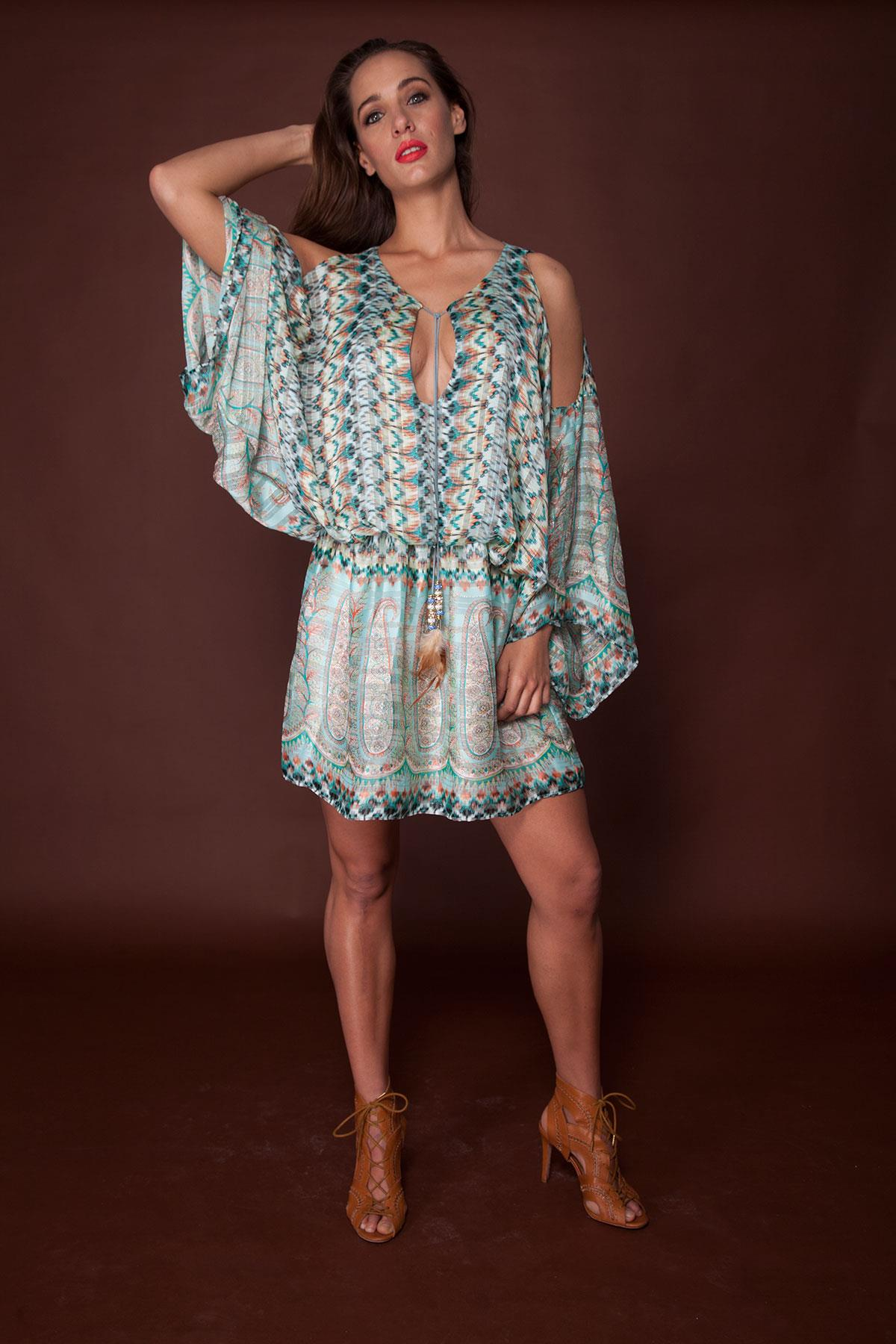 Turquoise Cold-Shoulder Folk Dress