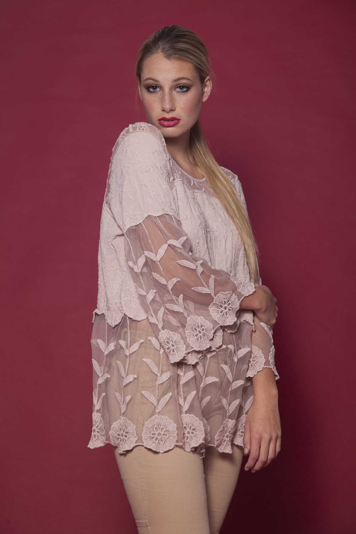 Blush Feminine Blouse With Lace Peep-Out